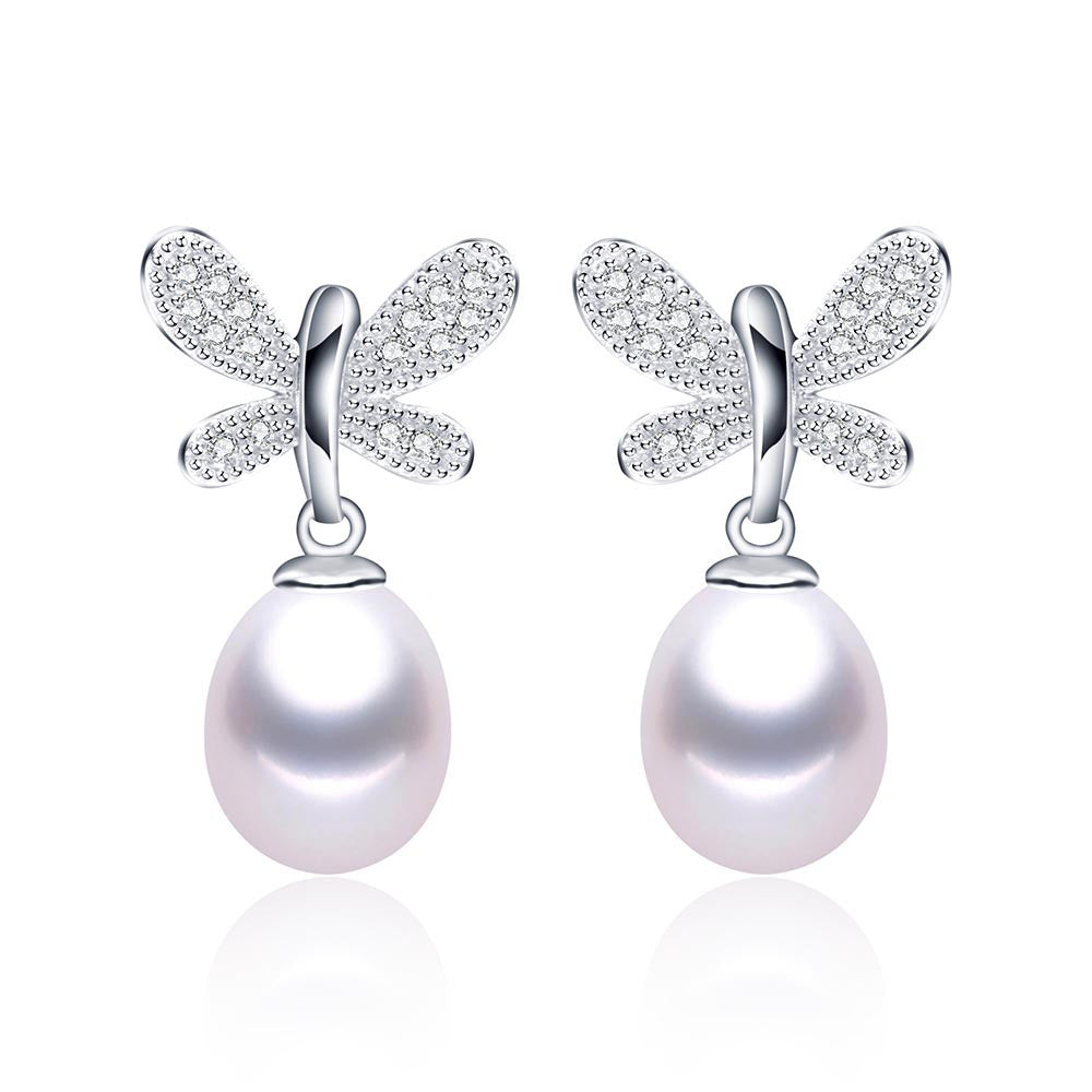 Hot sell Butterfly Pendientes Dangle Earrings 925 Sterling Silver Jewelry for Women Natural Pearl Jewelry 3 Color 9-10mm