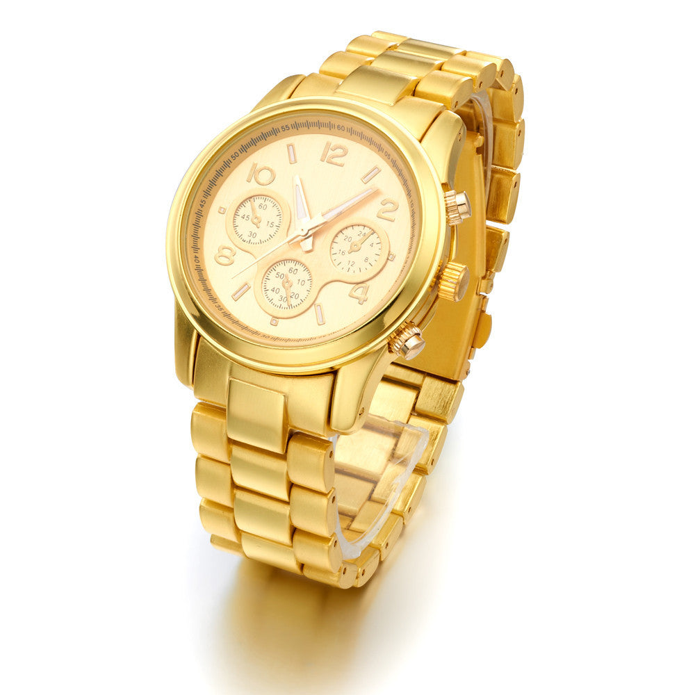 Brand Gold Plated Stainless Steel fashion man women ladies Janpan Quartz Movement Wrist Watch