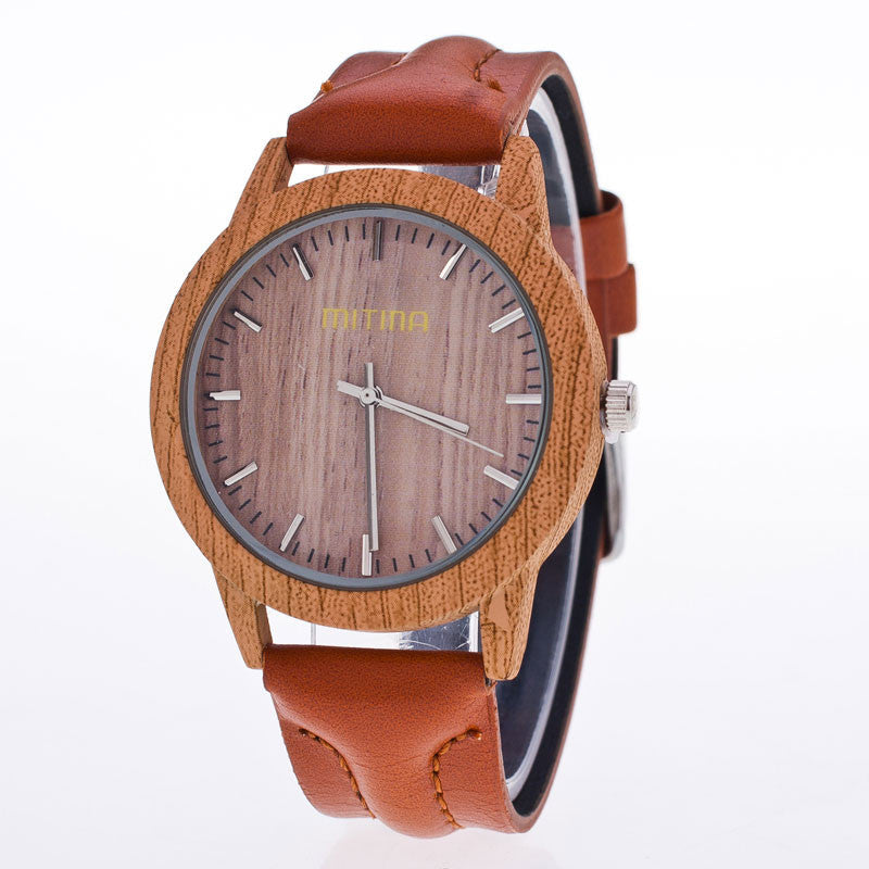 Hot Fashion Brand Unisex Watches New Luxury Imitation Wooden Watch Women Men Vintage Leather Quartz Wood Color Dress Watch Clock