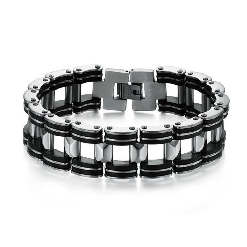 Hot Men Silver Stainless Steel Bracelets Black Rubber Motorcycle Biker Chain Link Bracelet