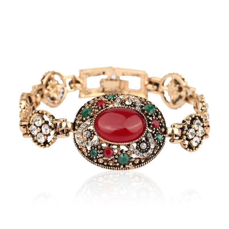Hot Red Circular Turquoise Bohemia Style Rhinestone Bangles Wedding Jewelry Bracelets For Women