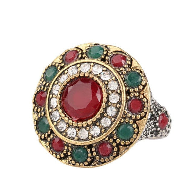 Hot Ruby Jewelry Rainbow Wedding Ring Dual Color Plating Round Austrian Crystal Rings For Women