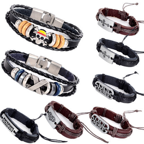 Hot Sale Bracelet Men Women Handmade Braid Genuine Leather bracelet Wrap Charm Cross Bracelets Bangles Men Jewelry