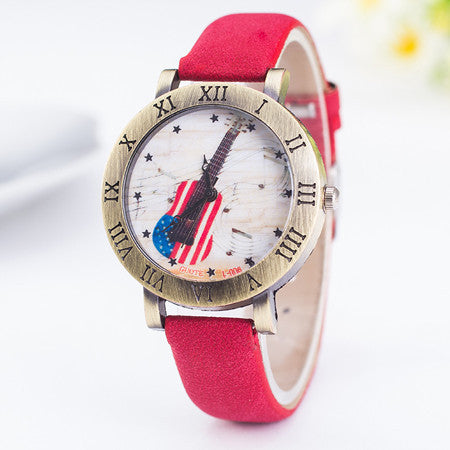 Hot Sale Fashion Women Watch Ladies Leather Quartz Watches Mens American Flag Guitar Music Rome Style Wristwatch