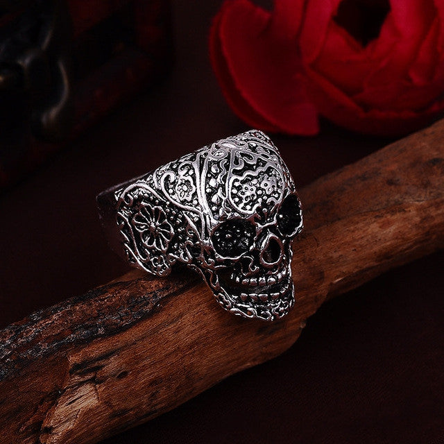 Hot Sale Men's Punk Style Flower Skull Biker Ring Fashion Skeleton Jewelry