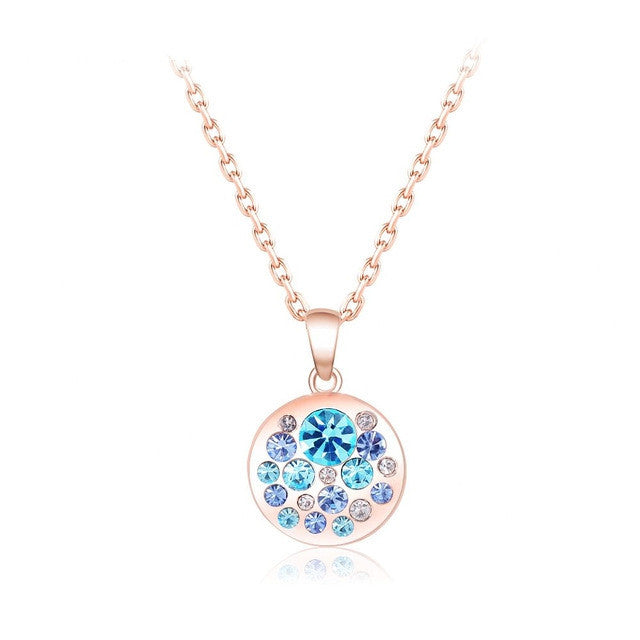 Hot Sale Rose Gold Plated Fashion SWA Element Austrian Crystal Collares Maxi Necklaces & Pendants