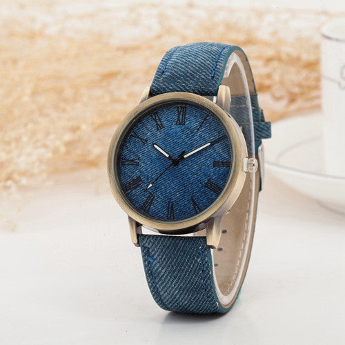 Hot Sale Wristwatch New Fashion Demin Leather Quartz Watch Analog Women Roman Scale Watch Men Casual Watch Relogio Clock