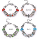 Hot Sell 925 Silver Crystal Charm Shambala Bracelets Women Glass Beads Bracelets & Bangles Handmade DIY Jewelry