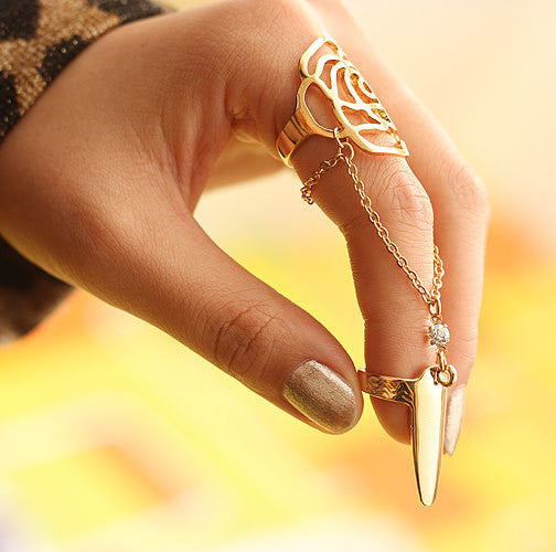 Hot Sell Beautiful Elegant Sparkling Alloy Nail Rings For Women and girls