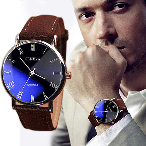 Hot Selling Good Deal Men Roman Numerals Blu-Ray Faux Leather Band Quartz Analog Business Watch