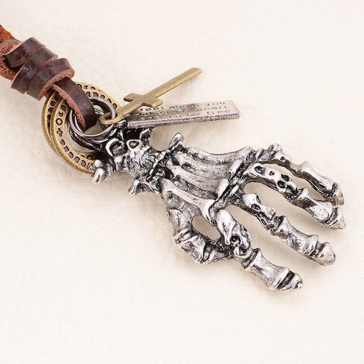 Hot Selling Horror Skull Charm Pendant Necklaces Vintage Punk Rock Genuine Leather Adjustable Long Necklace for Men Jewelry