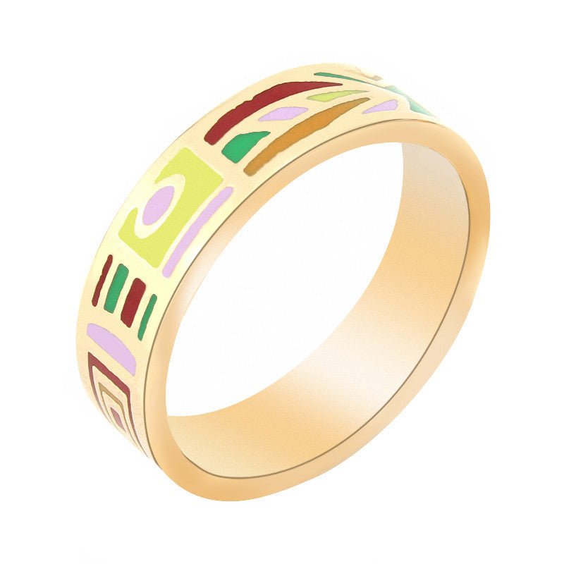 Hot Selling Newest Narrow Gold Plated Stainless steel Enamel Jewelry Rings