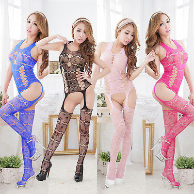 Hot Sexy Ladies Fishnet Open Crotch Body Stocking Bodysuit Nightwear Lingerie