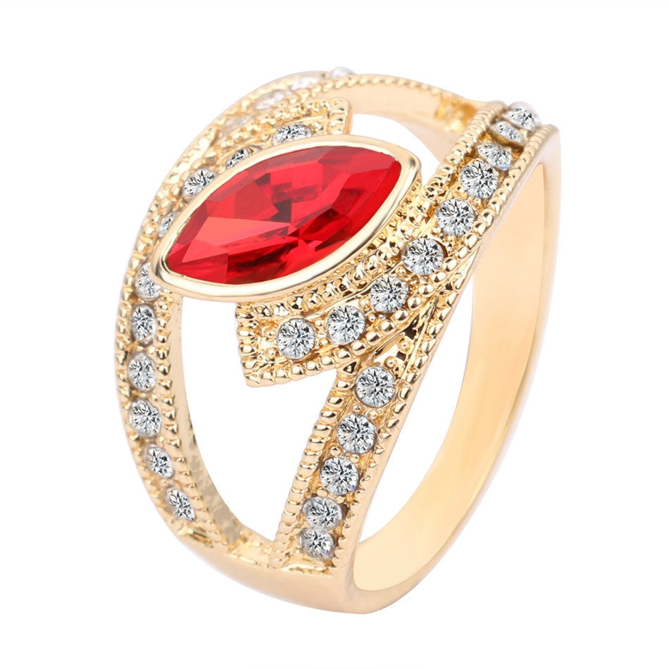 Hot Top Fashion Ruby Ring 18K Gold Plated Punk Rock Crystal Rings For Women Love Gift Vintage Jewelry