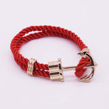 Hot Trendy Gold Silver Braided Rope Anchor Bracelet Men Charm Leather Bracelets & Bangles