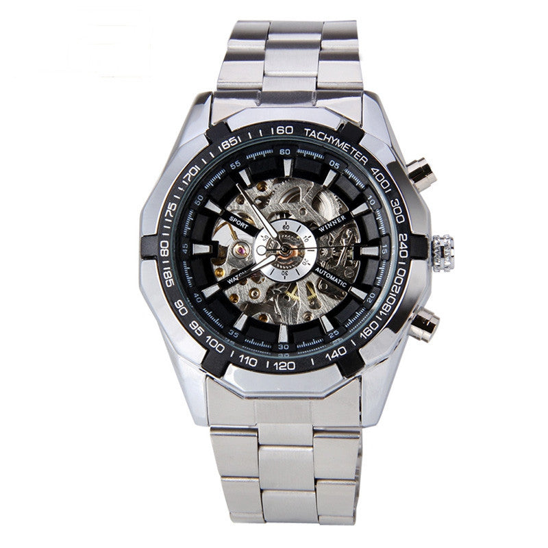 Hot Winner Luxury Brand Luxury Sport Men Automatic Skeleton Mechanical Military Watch Men full Steel Stainless Band