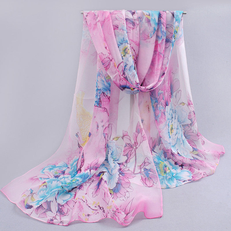 Hot women peones chiffon georgette silk women's scarves spring autumn summer sun modern hijab style