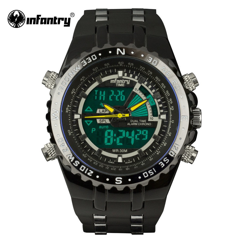 Luxury Brand INFANTRY Mens Watches LCD Reloj Digital New Casual Quartz Watch Military Police Chronograph Watch