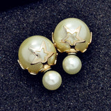 New Fashion jewelry double side matte 16MM pearl stud star flower design gift for women girl mix color