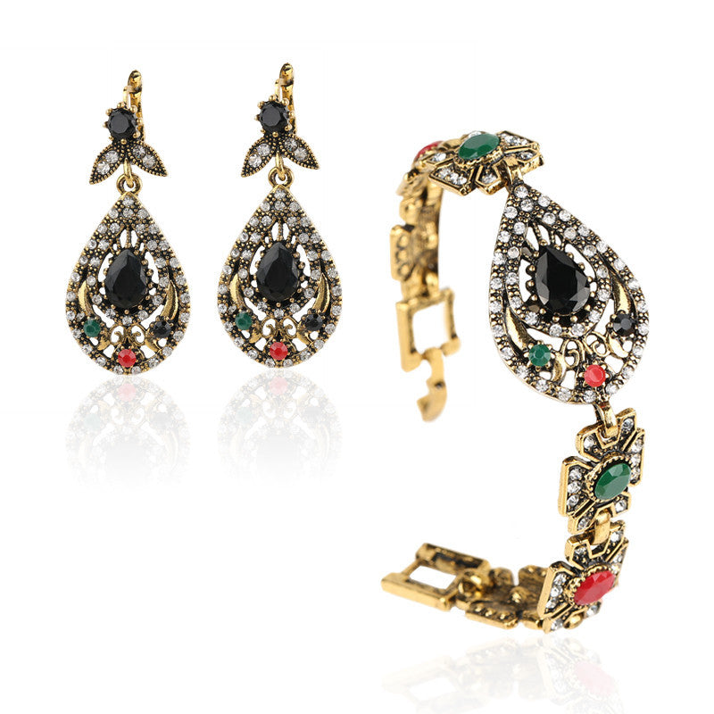 India Jewelry Sets Plated Ancient Bronze Mosaic Rhinestone Hollow Out Carved Geometric Vintage Statement Bracelets Earrings Set
