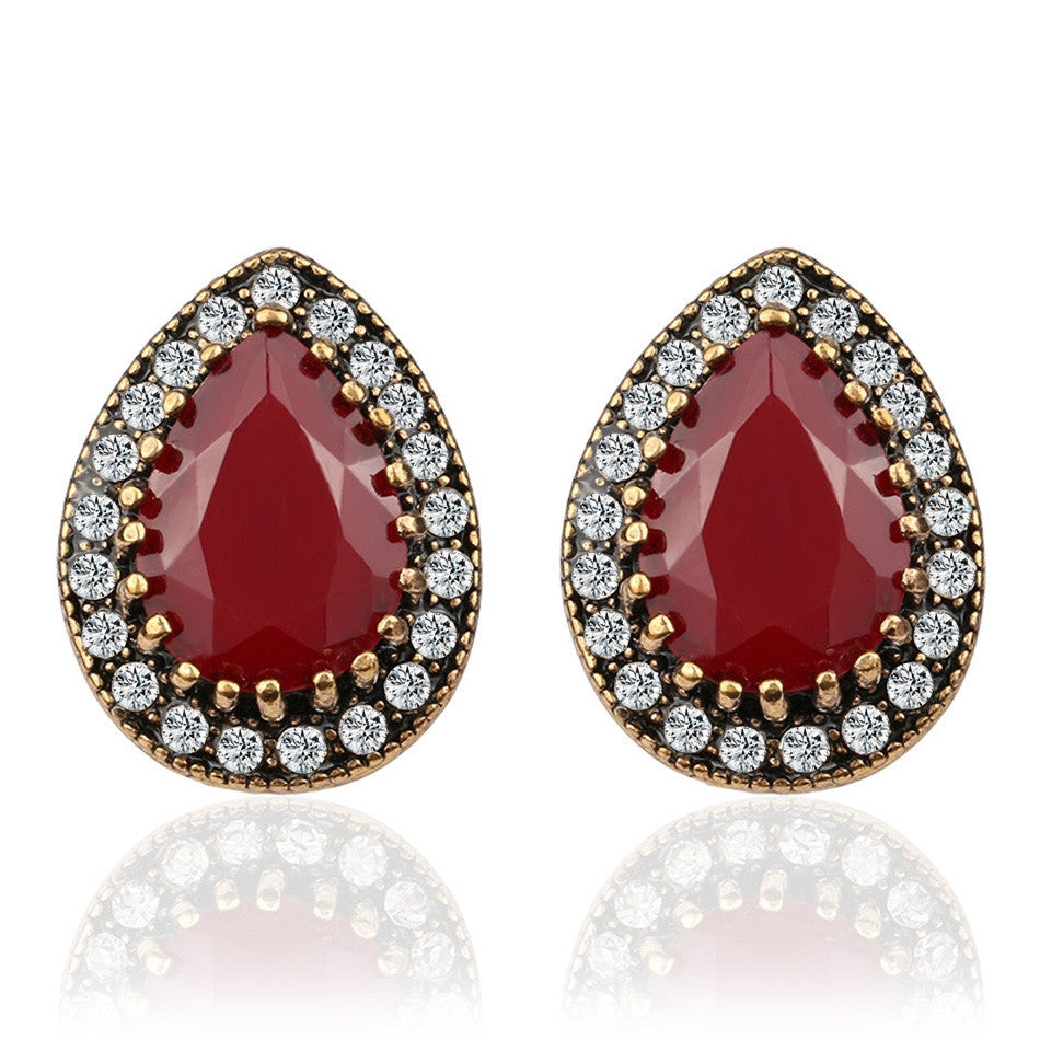 Indian Jewelry Designer Fashion Ruby Earrings For Women Water Drop Green Resin Jewellery