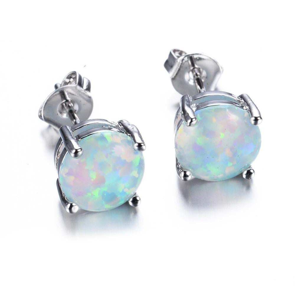 Bohemia Fire Opal Earrings For Women Ladies White Blue Red Purple Round White Gold Filled Double Side Stud Earrings