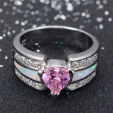Elegant Fashion Pink Heart Female Opal Ring White Gold Filled Jewelry Vintage Party Engagement Wedding Rings For Women