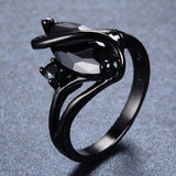 Fashion Jewelry S Style AAA Black Zircon Stone Finger Rings Black Gold Filled Women Men Wedding Party Promise Ring