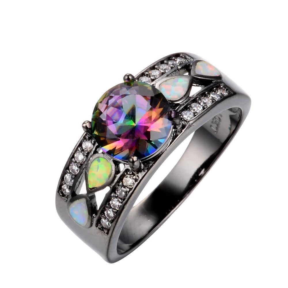 Fashion Jewelry Women Wedding Rainbow Opal Rings Colorful CZ 10KT Black Gold Filled Engagement Ring