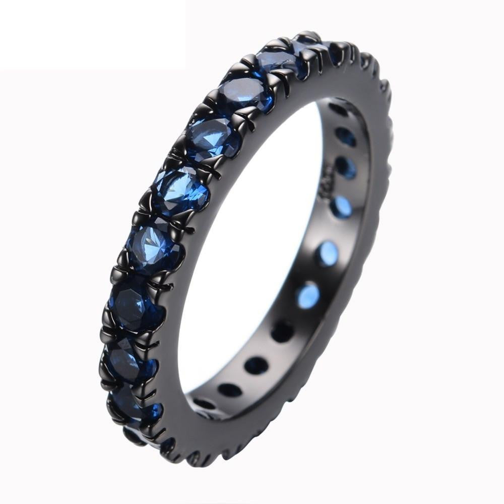 Fashion Men Women Blue Round Ring Vintage Black Gold Filled Jewelry Christmas Gifts