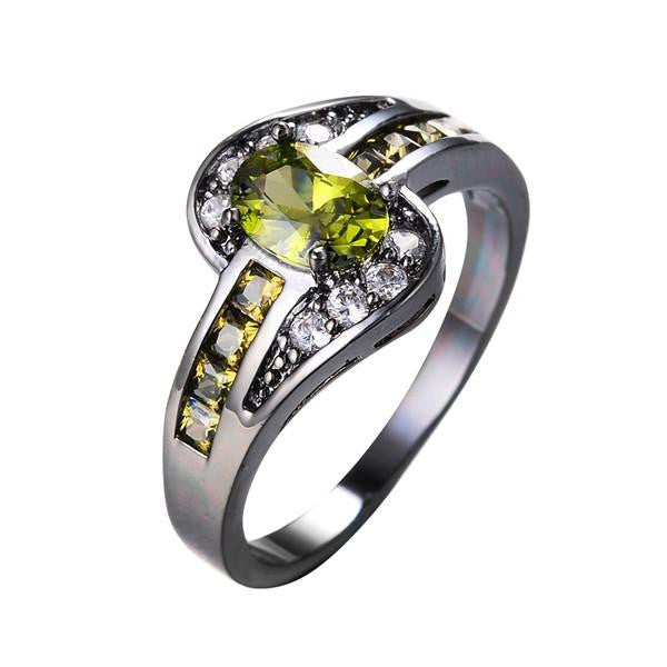 Female Peridot Oval Ring Fashion White & Black Gold Filled Jewelry Vintage Wedding Rings For Women Birthday Stone Gifts