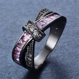 Female Pink Cross Ring Fashion White & Black Gold Filled Jewelry Promise Engagement Rings For Women Birthday Stone Gifts