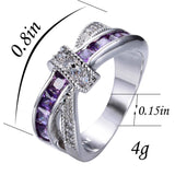 Female Purple Cross Ring Fashion White & Black Gold Filled Jewelry Vintage Wedding Rings For Women Birthday Stone Gifts