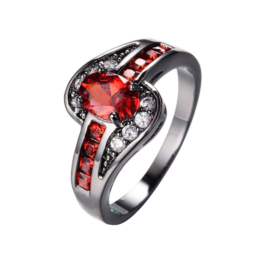 Female Red Oval Ring Fashion White & Black Gold Filled Jewelry Vintage Wedding Rings For Women Birthday Stone Gifts