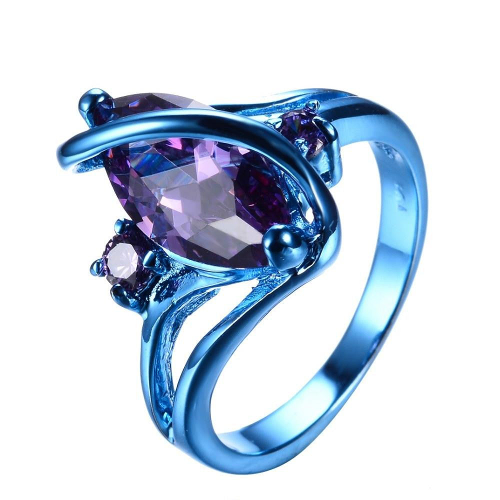 Fashion Male Female Blue Gold Ring Purple Ring Punk American Style Vintage Party Wedding Rings