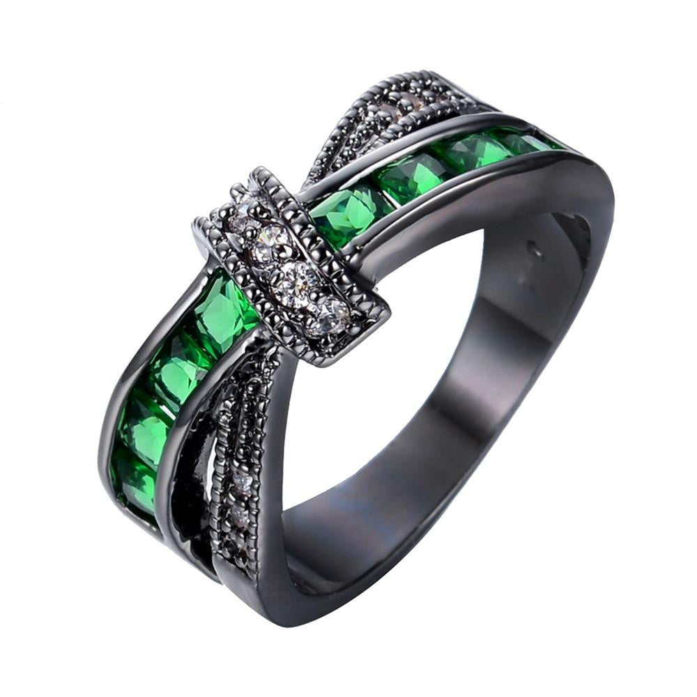 Men Green Cross Ring Fashion White & Black Gold Filled Jewelry Vintage Wedding Rings For Women Birthday Stone Gifts