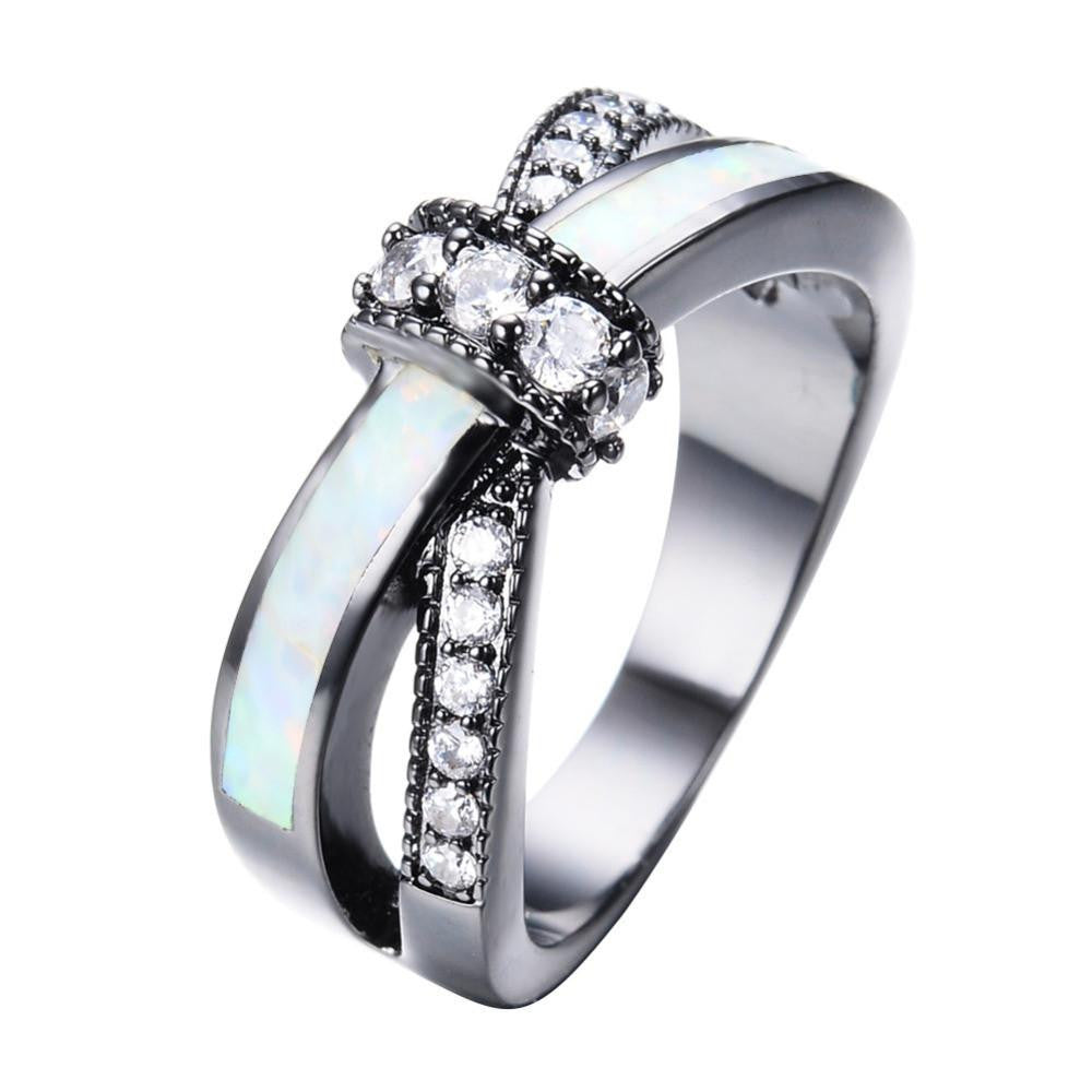 8a30862db3 $36.00; Rainbow Fire Opal Rings For Women Lady Black Gold Filled Wedding  Party Engagement Love Ring Anel
