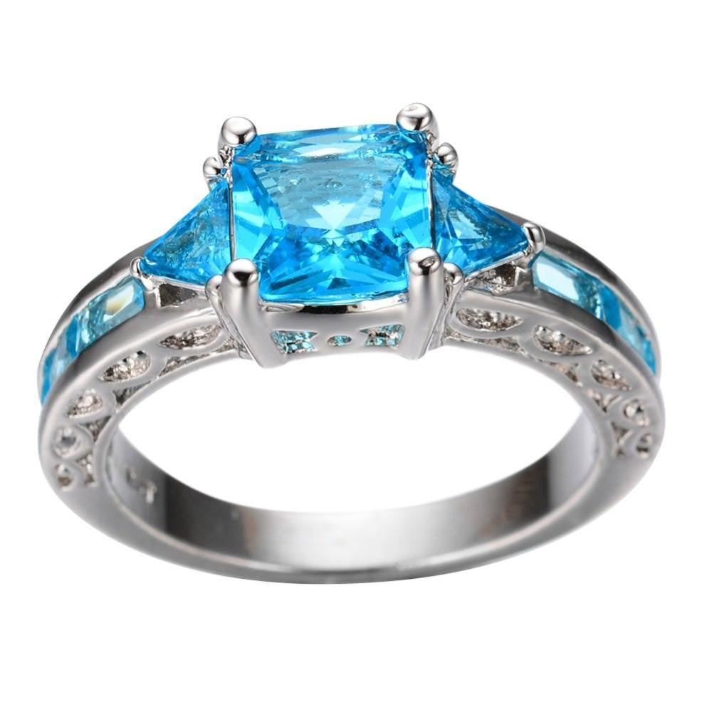 New Fashion Geometric Ring Women Light Blue 10KT White Gold Ring Promise Engagement Rings Gifts For Girlfriend