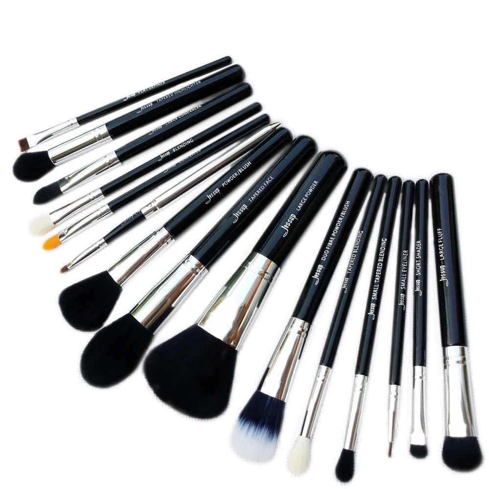 Pro 15pcs Makeup Brushes Set Powder Foundation Eyeshadow Eyeliner Lip Brush Tool Black and Silver