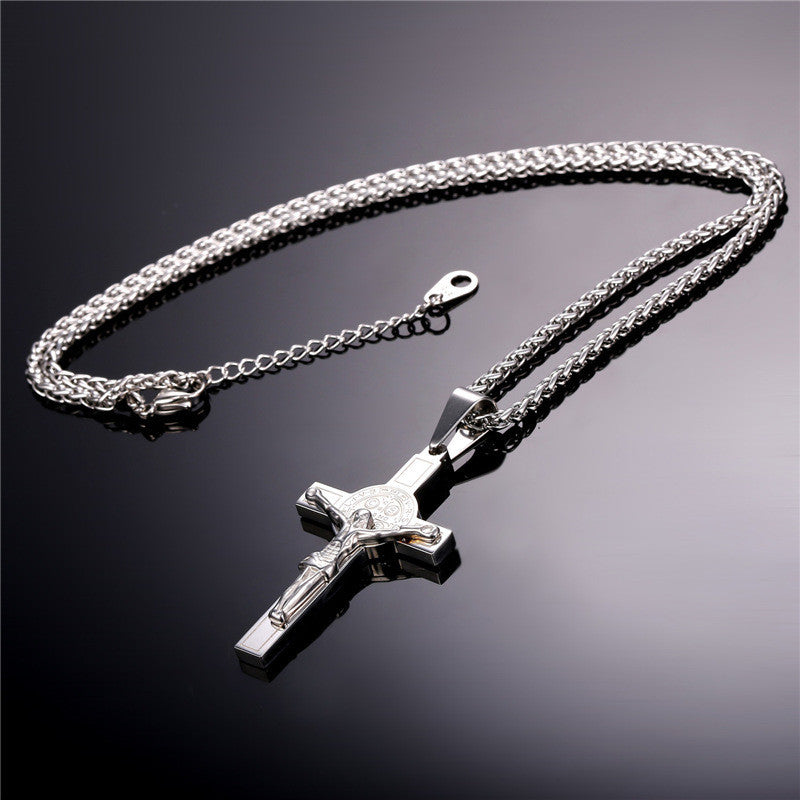 Jesus Piece Cross Pendant & Necklace Christian Jewelry Gift Vintage Stainless Steel/Gold Plated Chain Men