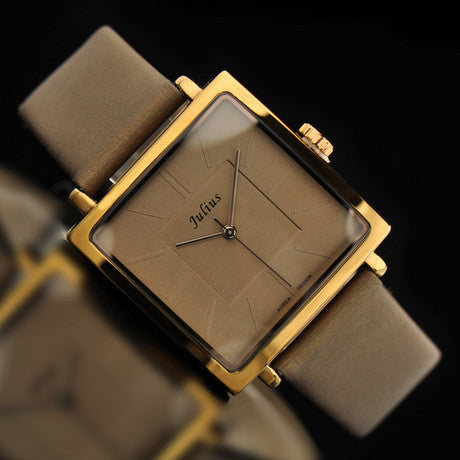 Julius women dress watches profession OL fashion casual leather strap quartz ultrathin square vintage brand wristwatches