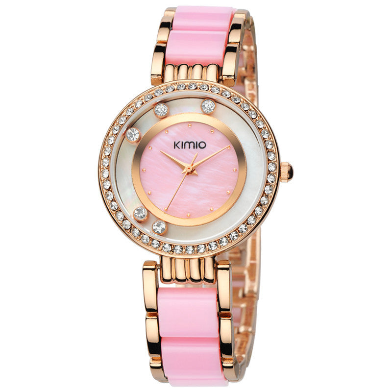 KIMIO relogios feminino fashions Lady Watches Shell Dial Brand Top Quality Luxury Quartz Watch Women Wristwatch