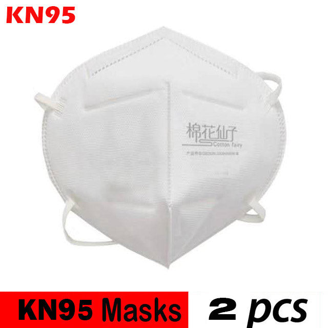 2 Pcs KN95 4-Ply Solid Color Disposable Dustproof FFP2 Face Mouth Masks Anti Influenza PM 2.5 Breathing Safety Masks Face CareElastic