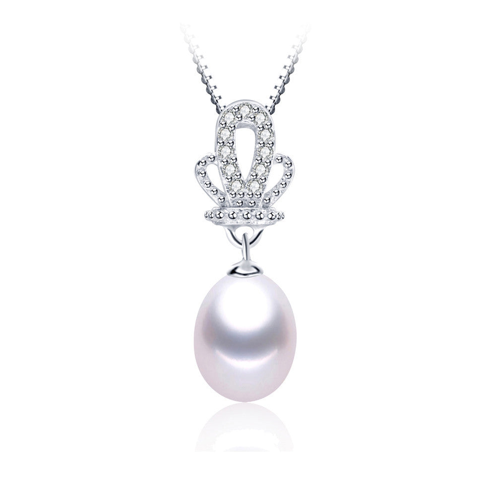 sterling-silver-jewelry Top Quality Genuine Freshwater Pearl Jewelry Necklace pendant for women 45cm chain
