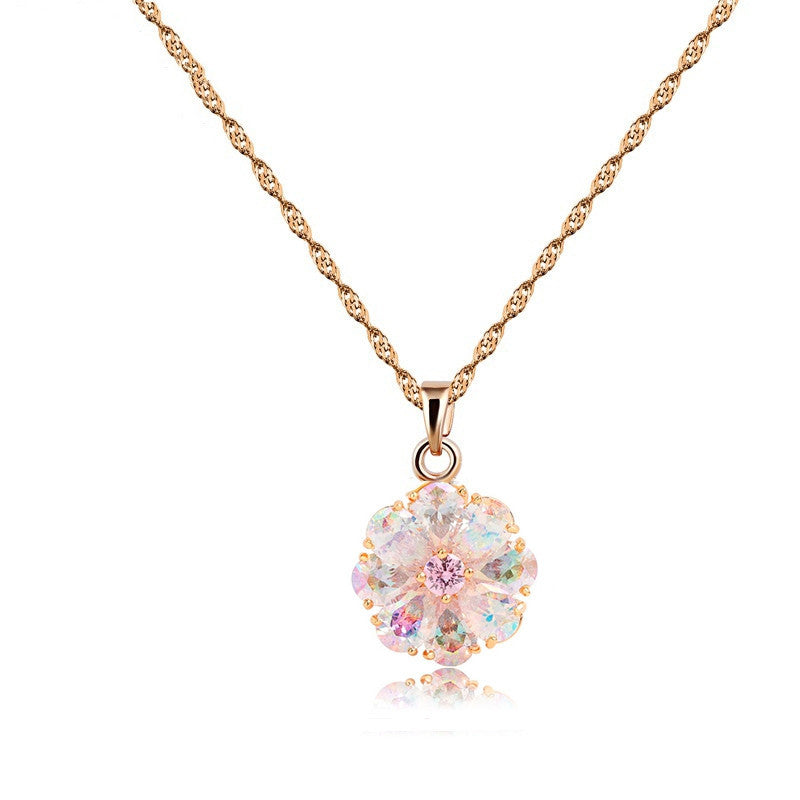 New Arrival Shining Rainbow Flower Cubic Zircon Pendant Necklace for Women Girl's Jewelry Gift Champagne Gold Plated