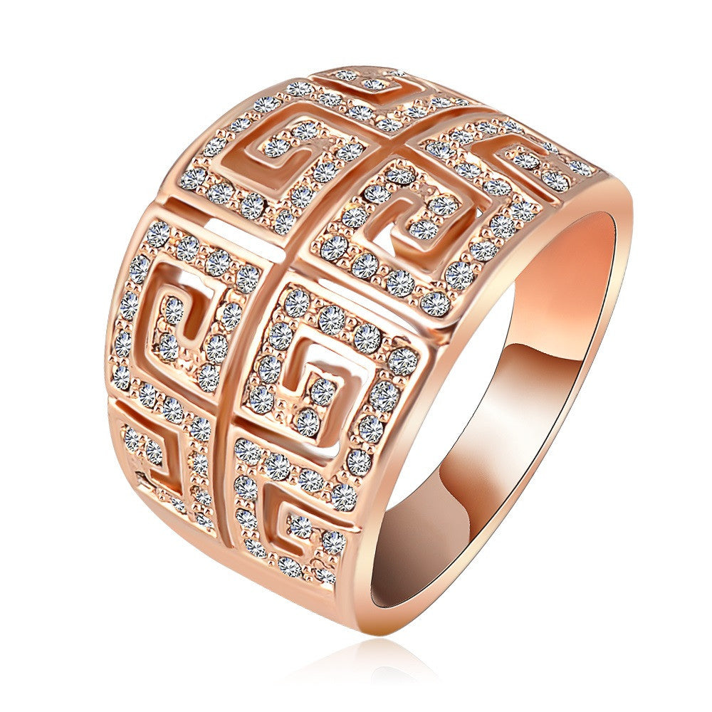 Brand Ring Vintage Retro Letter G Ring Rose Gold Plated SWA Elements Austrian Crystal Ring