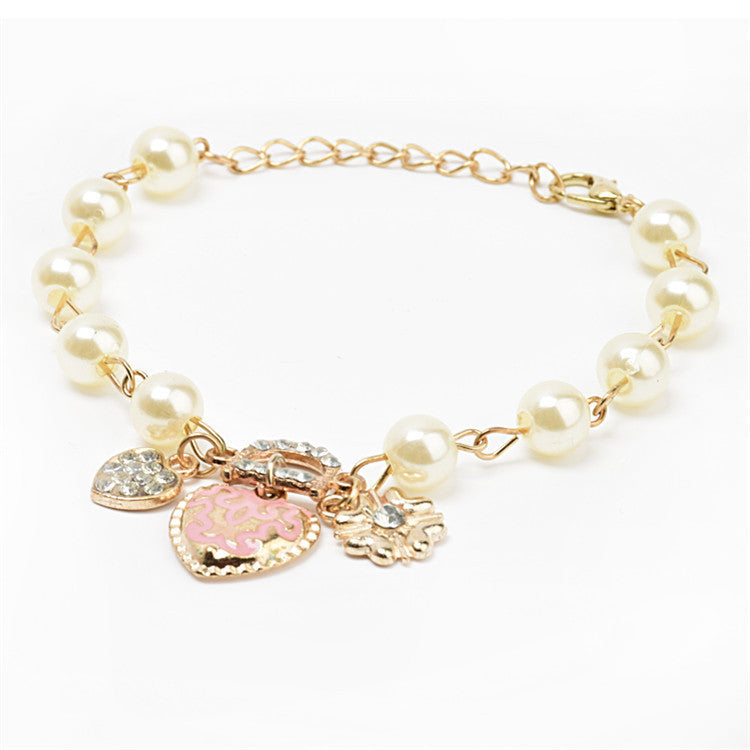 Lackingone Hot Sale New Arrivals Bracelets for women,Korean style Heart flower letter D pendant Charm Bracelet
