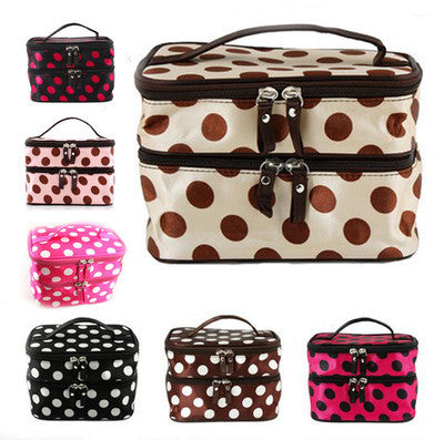Lady Double Cosmetic Bag Retro Dot Beauty Case Makeup Bag Set Kit Toiletry Bag