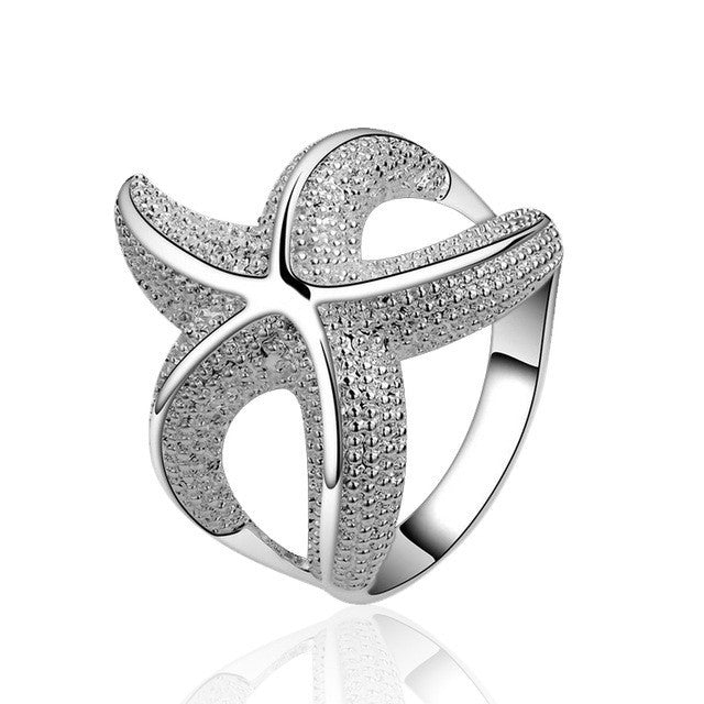 Large Stock Customizable Women Wedding Rings Personalized Fashion Starfish 925 Silver Ring