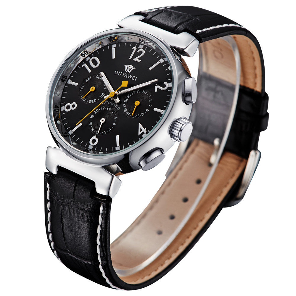 Leather Waterproof Watch Men Luxury Brand Black Round Face Analog Display Elegant Quartz Watch